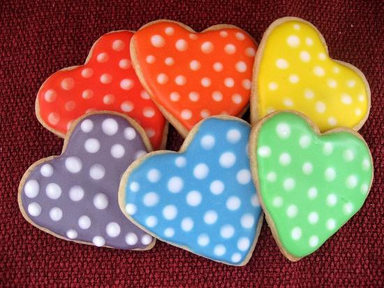 Polka Dot Heart Cookies