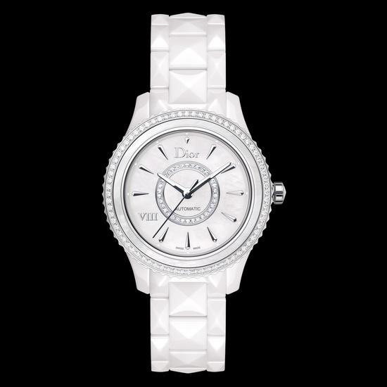 18k white gold, white ceramic, white mother-of-pearl & diamond watch // dior