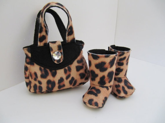 Leopard print purse and boots for 18 inch doll