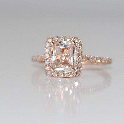 1.8ct Cushion peach champagne sapphire in 14k rose gold diamond ring via Etsy.