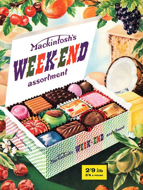 Mackintosh's (wonderfully yummy looking) Weekend Assortment, 1958. #vintage #1950s #food #candy #ads