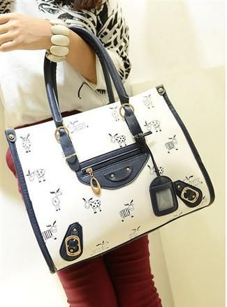 Korean Fashion Deer Printing Shoulder Handbag