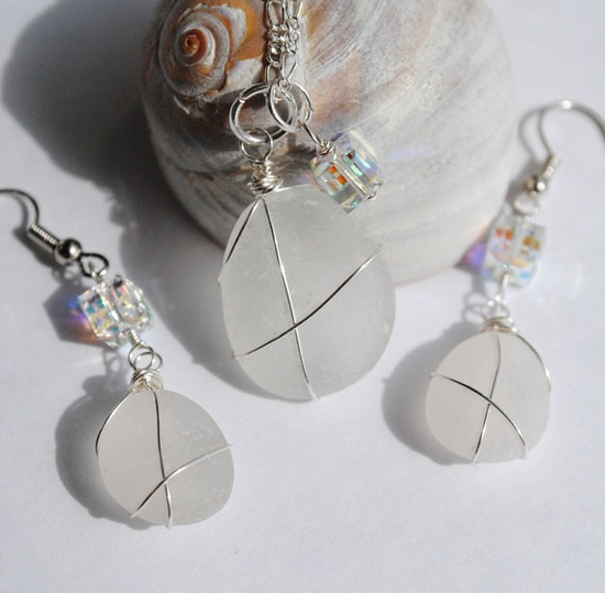 Bridal Jewelry Sea Glass Jewelry Set Wire Wrapped by MommysDream, #hollerh