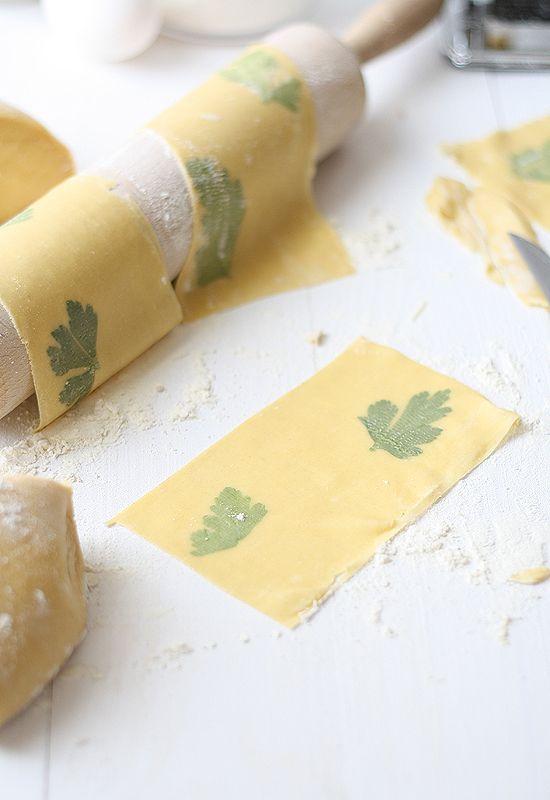 Herb-filled pasta
