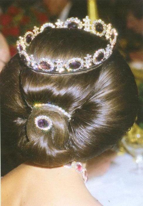 Queen Sylvia of Sweden wearing a stunning Amethyst- Diamond tiara.    The tiara was originally a necklace, but Queen Sylvia transformed it it that amazing tiara.