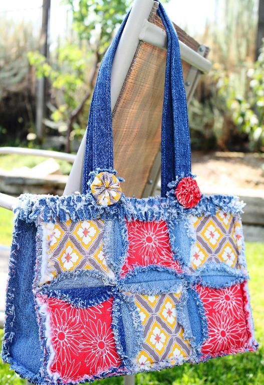 Denim Circle Rag Bag- Jean Purse!