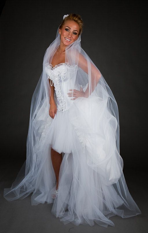 Size Small white Bridal gown with pearls OOAK Ready by Glamtastik, $795.00