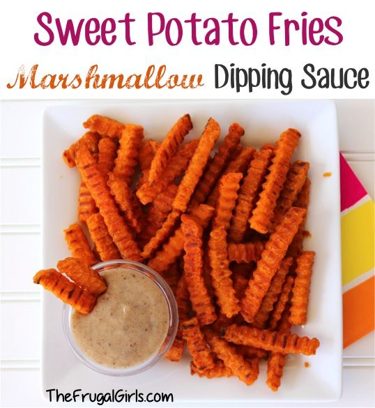 Marshmallow Dipping Sauce for Sweet Potato Fries! ~ from TheFrugalGirls.com {it's ooey and gooey, and kind of tastes like a churro! It's SO yummy!} #recipes