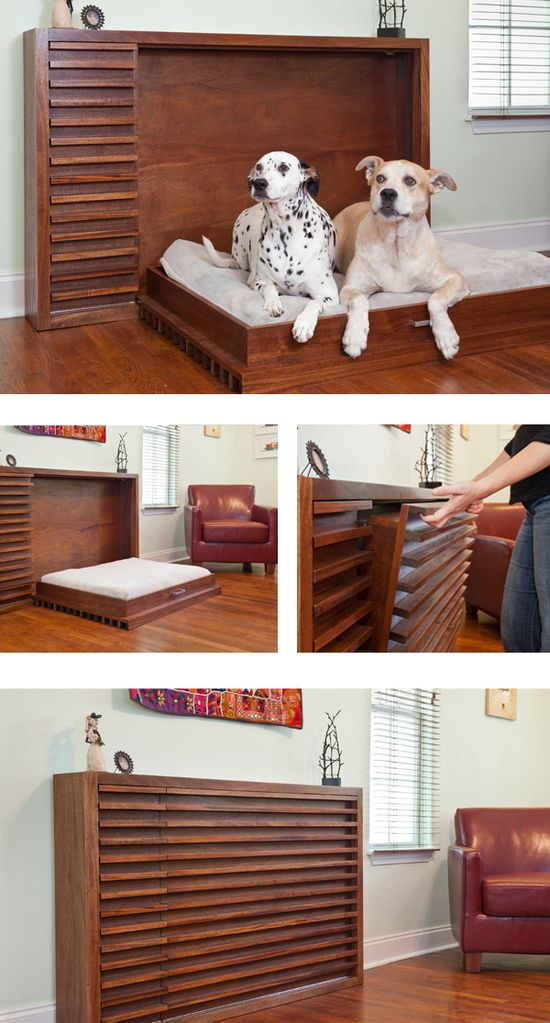Modern fold-out dog bed. Love the idea!