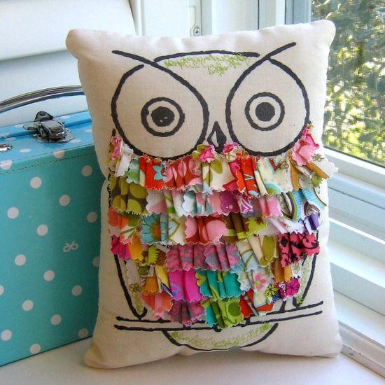 Owl pillow, stuffed owl, fabric scrap owl pillow, appliqued owl pillow, ruffle pillow, printed owl pillow, - No. 123
