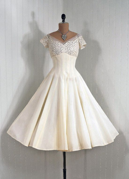 ~1950s Emma Domb Designer-Couture Ivory-White Sheer Lace Illusion and Taffeta~
