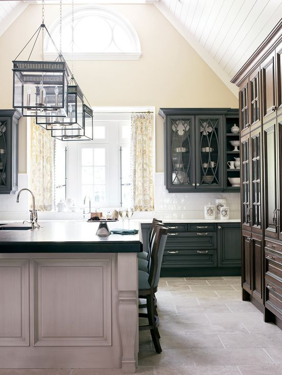Black cabinets, white cabinets, white counters