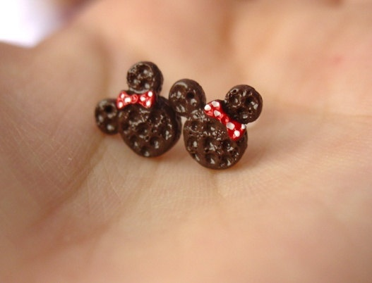 Chocolate Minnie Mouse Waffle Earring Studs. $6.00, via Etsy.