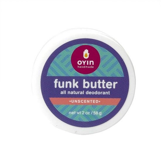 Oyin Handmade Funk Butter (Unscented). All-natural deodorant. Contains baking soda, cornstarch, shea butter, coconut oil, sunflower oil, olive oil, kaolin clay, calendula & chamomile powders. Available @ HoneyFig.com (Toronto, ON) #unscented #scentfree #fragrancefree
