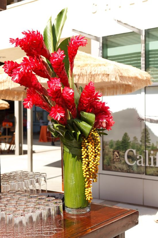 tropical corporate flowers reception wedding flowers,  wedding decor, wedding flower centerpiece, wedding flower arrangement, add pic source on comment and we will update it. www.myfloweraffai... can create this beautiful wedding flower look.
