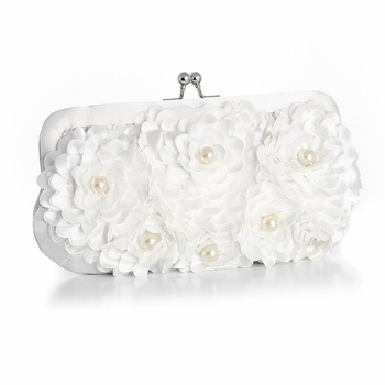 White Flowers and Pearls Wedding Purse - perfect for the bride!  Visit affordableeleganc... for fabulous wedding accessories!