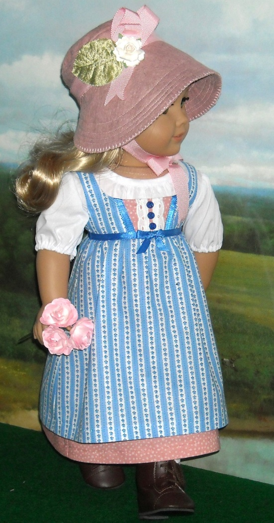 1812 Blue Day Dress Outfit with Bonnet for Caroline. $85.00, via Etsy.