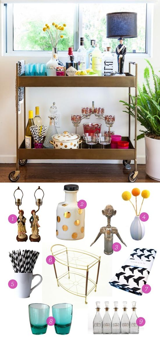 Get the Look: Bar Cart. Inspired by Emily Henderson's makeover of Bri Emery's space.