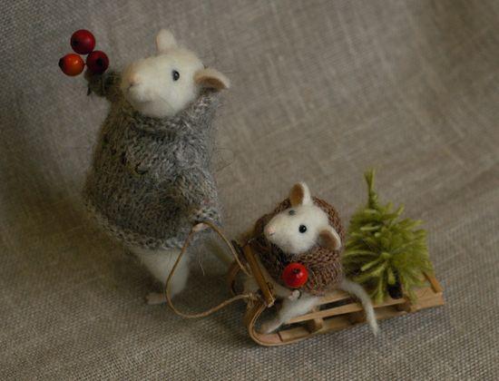Stuffed Animals by Natasha Fadeeva - Christmas Mice