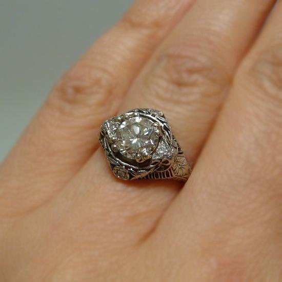Gorgeous Edwardian Platinum Engagement Ring