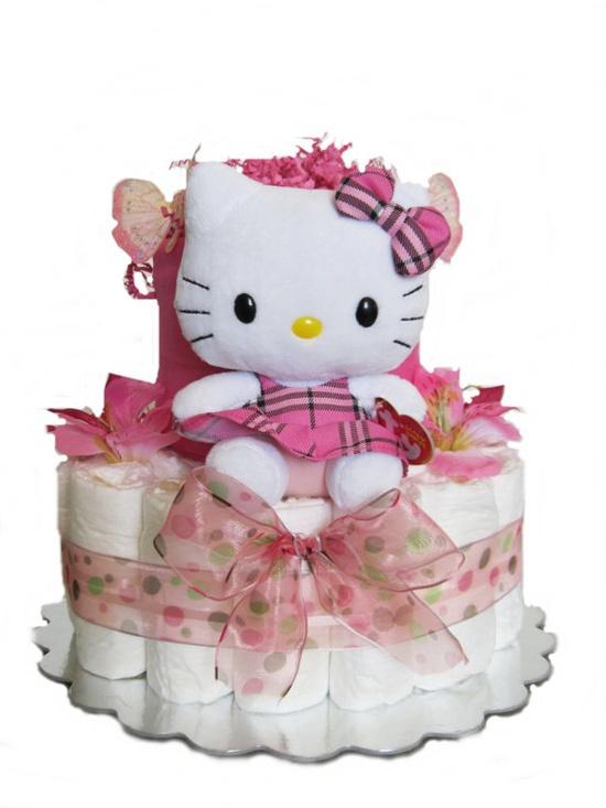 Plaid Hello Kitty Diaper Cake 2 Tier/ Baby Shower by YaniBabyCakes, $50.00