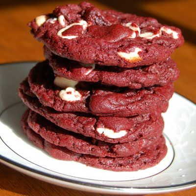 Red Velvet Cookies & White Chocolate Chips. Made with cake mix