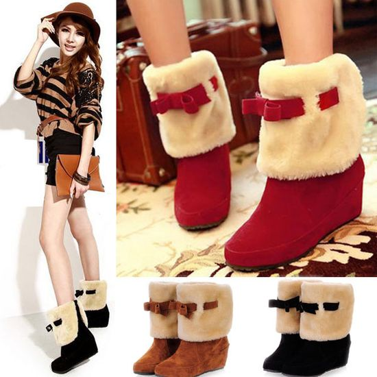 Fashion Sweet Mid-calf Bowknot Snow Short Boots Shoes OL Women Lady Girl Winter 3 Colors $12.65