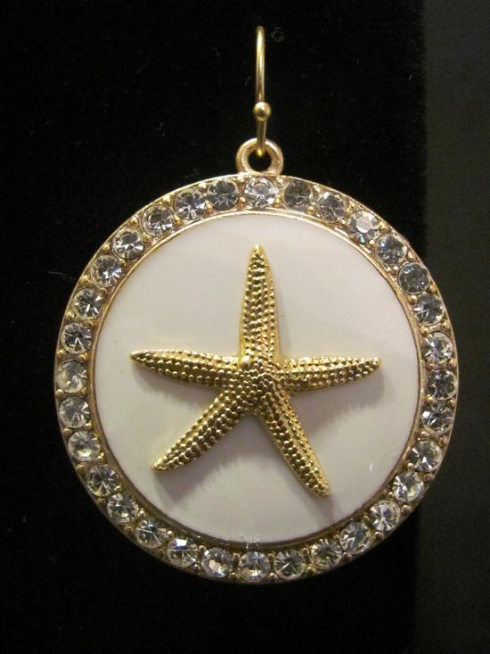 White Starfish Bling Dangle Earrings