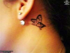 behind the ear tattoo-butterfly