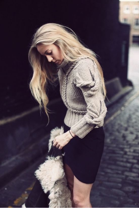 chunky knit with pencil skirt