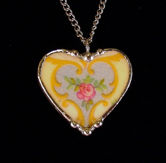 Victorian pink rose. Broken china jewelry heart pendant necklace. Made from a broken china plate by Dishfunctional Designs