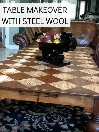 This stylish checkered coffee table makeover was done without paint or stain! All you need is some steel wool. From @Jamie Dorobek [C.R.A.F.T.].