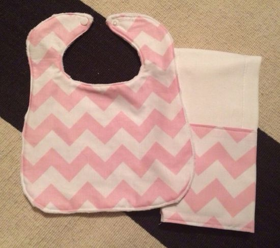 Baby Bib and Burp Cloth Set - Baby Pink and White Chevron on Etsy, $15.00