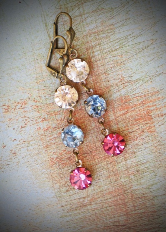 $39 Beutiful earrigs with  8mm vintage rhinestone jewels in choice of color #gift #earrings #brigade @Rew Elliott