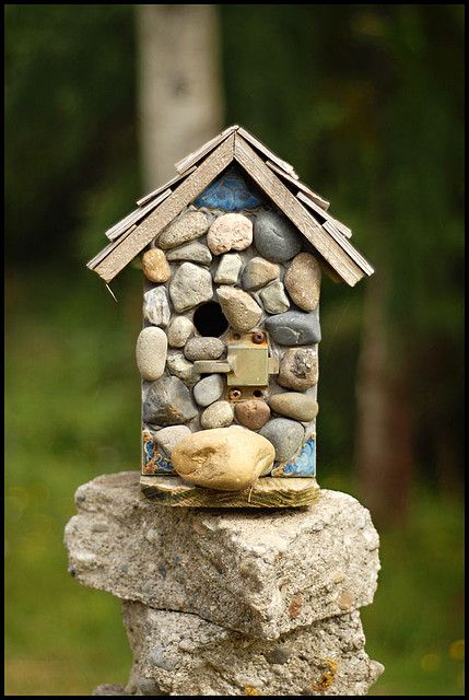 stone birdhouse