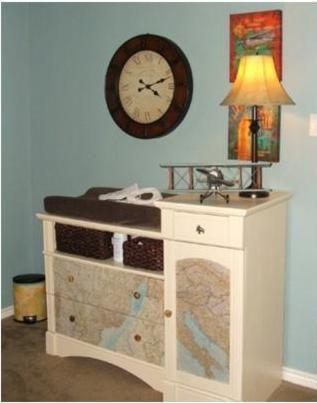Vintage Travel Nursery 2-spray adhesive maps onto dresser!