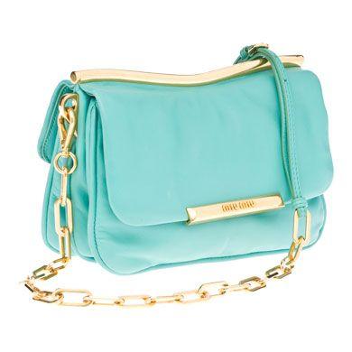 gorgeous aquamarine miu miu handbag