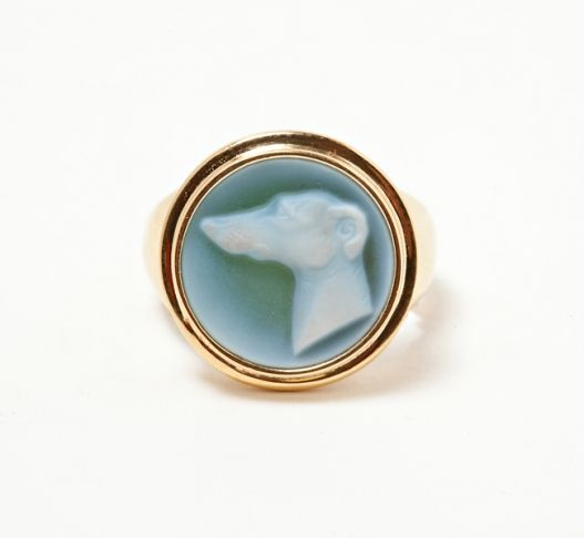 Whippet Cameo Ring
