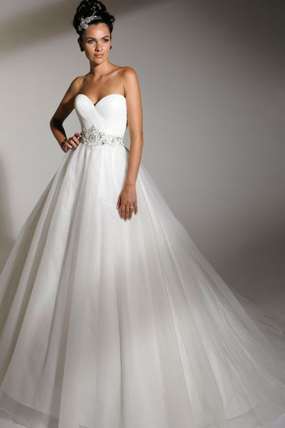 Princess sweetheart neckline wedding gown --Love the skirt on this. Just need to find a way to make it not strapless. I am so over strapless gowns.
