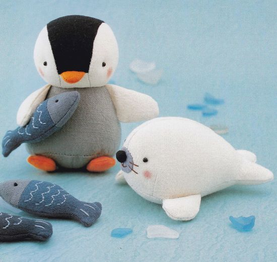 Cotton Linen Fabric Cute Penguin Fish and Seal Animal Mascots Plush Stuffed Toy Sewing Crafts pdf E PATTERN in Japanese.