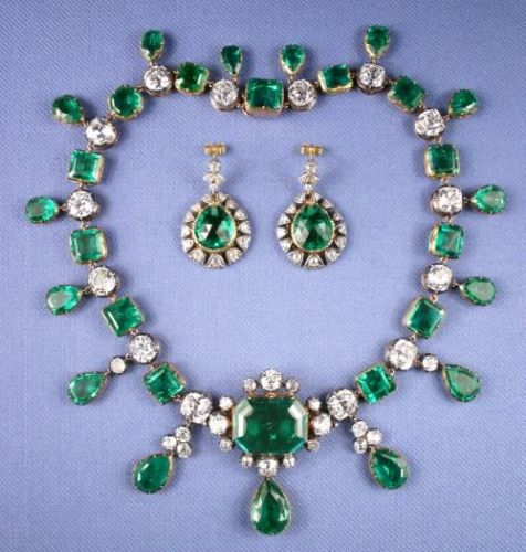 Catherine the Great  Emerald necklace and earrings