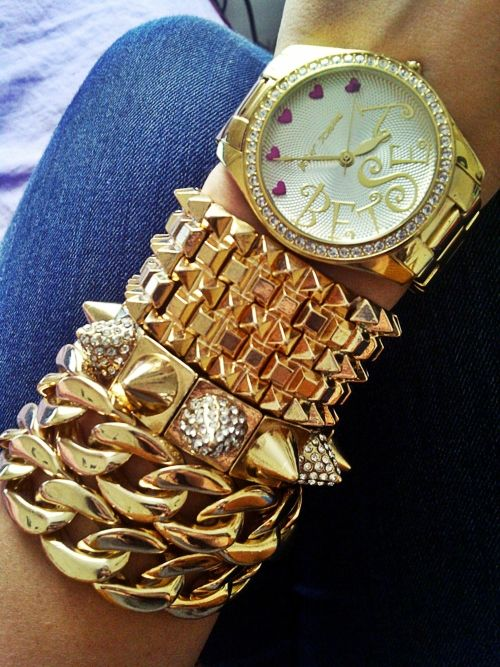 Betsey Johnson Watch and Gold Accessories