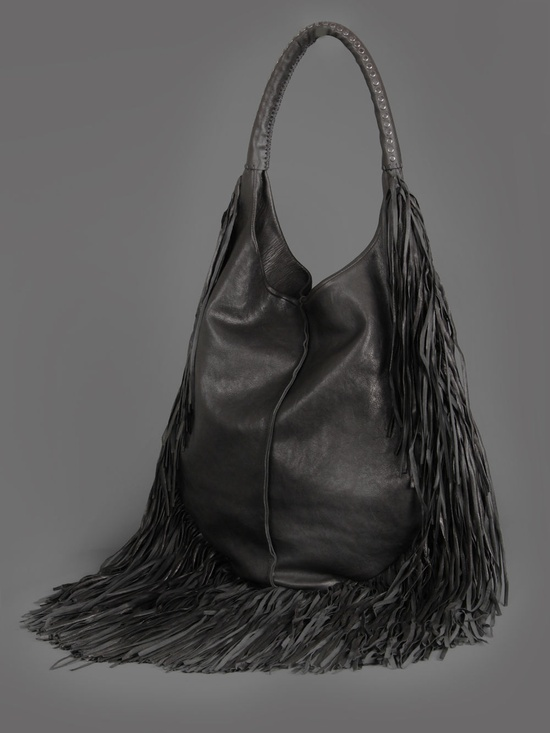 BARBARA BONER LEATHER BAG WITH LONG LEATHER FRINGES AND RECOVERED LEATHER ARM STRAP