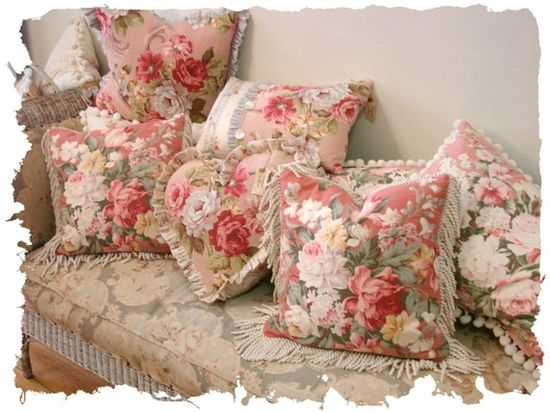 Romantic Cottage French Farmhouse Shabby Chic Vintage Fabric Pillows