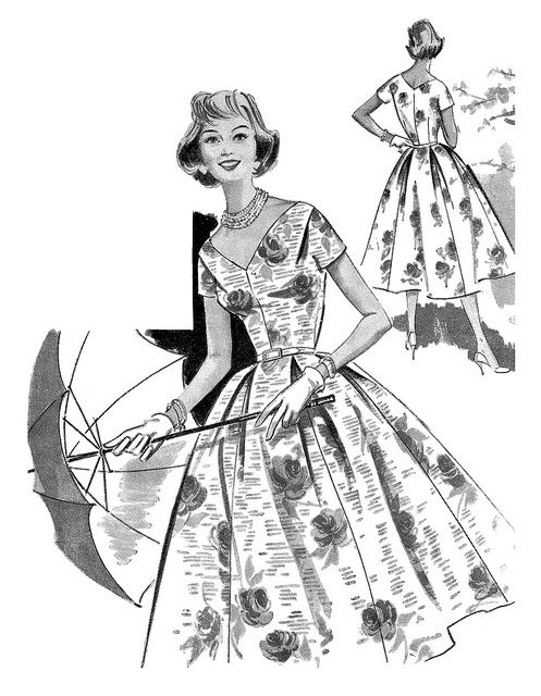 Illustration from an ad for dress making patterns that appeared in the June 1957 edition of Woman and Home magazine. #vintage #1950s #fashion