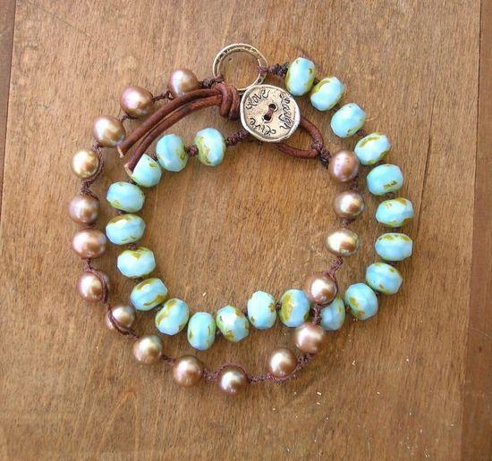 Beachy knotted bracelet artisan silver freshwater by 3DivasStudio, $57.00