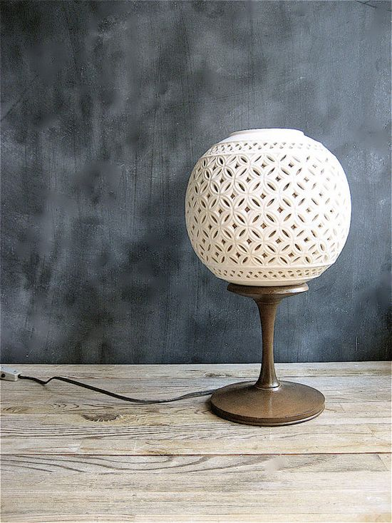 Vintage Reticulated Porcelain Lamp