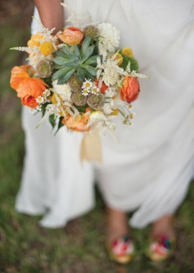 A very dreamy bouquet by We + You. Photo by Nine Photography #wedding #vintage #bridal #bouquet #orange #white #yellow #succulent