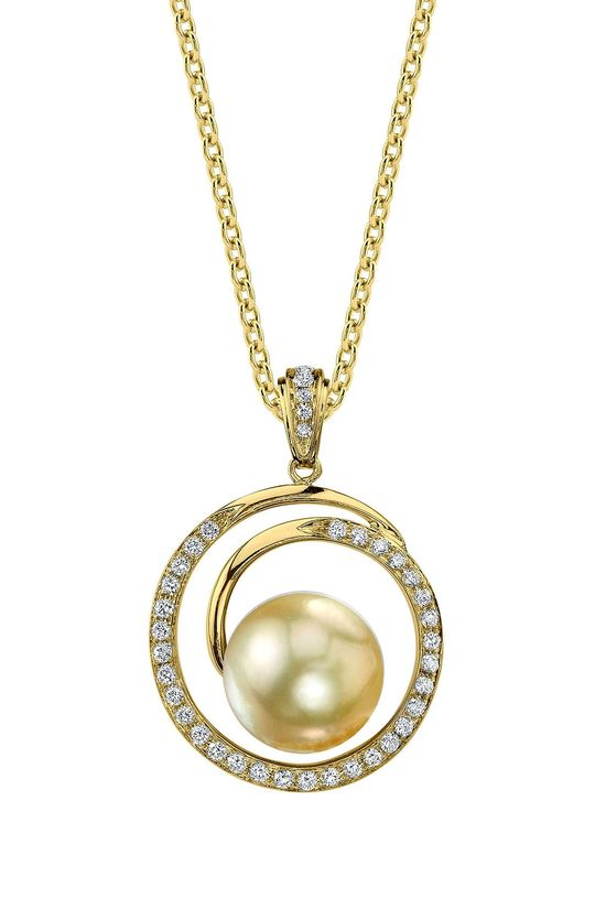 18K Yellow Gold 9mm Golden South Sea Pearl & Diamond Pendant Necklace- 0.38 ctw