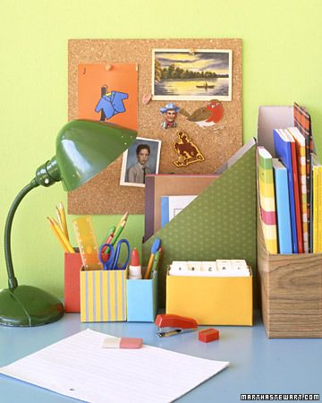 Another neat idea- Kids go through cereal fast. Make use of all the empty boxes by turning them into handy holders for their desks. Large boxes work well for books, small ones for supplies. Cut box with a utility knife at desired angle and height. Wrap decorative or contact paper around box to see how much you'll need; unwrap; cut. Secure paper with double-sided tape; trim excess.